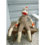 Vintage Hand Made Rockford Red Heel Sock Monkey John