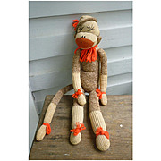 Vintage Hand Made Rockford Red Heel Sock Monkey Tina