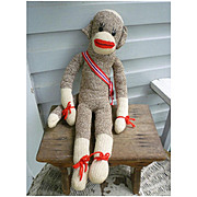Vintage Hand Made Rockford Red Heel Sock Monkey Max