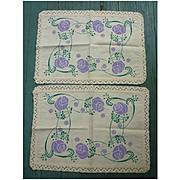 Fine Pair Arts & Crafts Purple Green Printed Linen Tea Tray Cloths