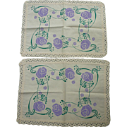 Fine Pair Arts & Crafts Purple Green Printed Linen Tea Tray Cloths