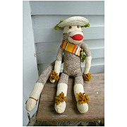 Vintage Hand Made Rockford Red Heel Sock Monkey Jesus