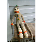 Vintage Hand Made Rockford Red Heel Sock Monkey Yazzi