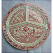 "Vintage Pink Willow Divided Compartment Plate 10"" Made in France Reg #712950"