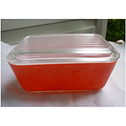 Pyrex Friendship Red Leftovers Refrigerator Half Size Dish and Lid