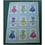 Sweet 1930s Sunbonnet Sue Child's Crib Quilt