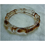 Rootbeer Swirl and Clear Lucite Bamboo Bangle Bracelet
