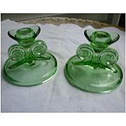 Pretty Pair Green Depression Glass Candlesticks