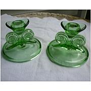 Pretty Pair Green Depression Glass Candlesticks