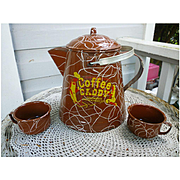 Large Enamel Ware Coffee Caddy Pot with Lid and 2 Mugs
