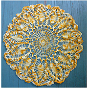 Gorgeous Golden Variegated Yellow Large Round Crochet Doily Centerpiece