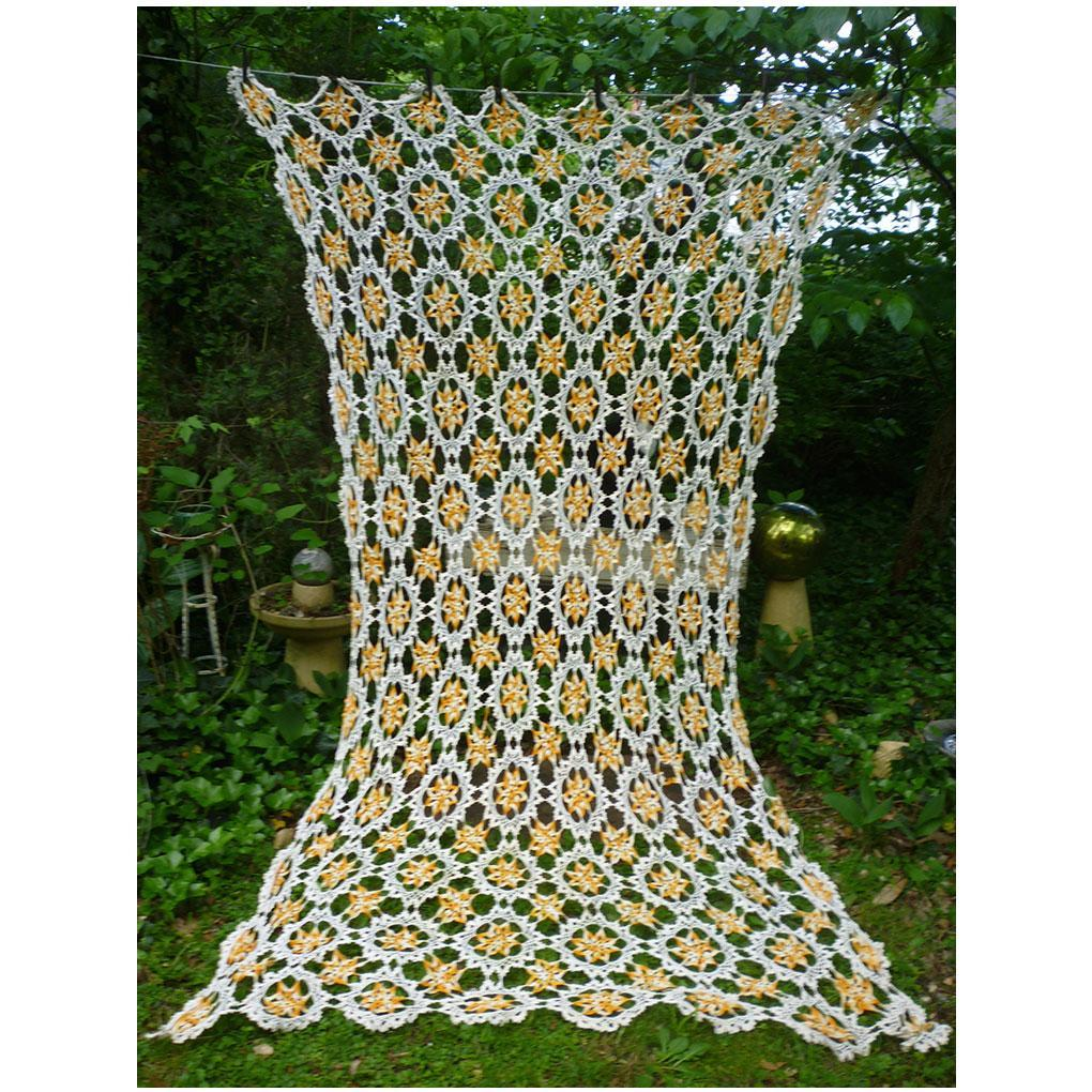 Gorgeous Golden Variegated Yellow and Cream Delicate Crochet Bedspread