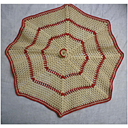 Red and Cream Crochet Bowl Cover