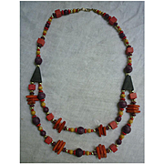 Colorful Boho Hippie Chic Wooden Beads and Shapes Necklace