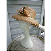 Shell Pink and Natural Straw Flower Trim Italian Vintage Hat