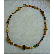 Colorful Boho Hippie Chic Wooden Beads on Leather Necklace