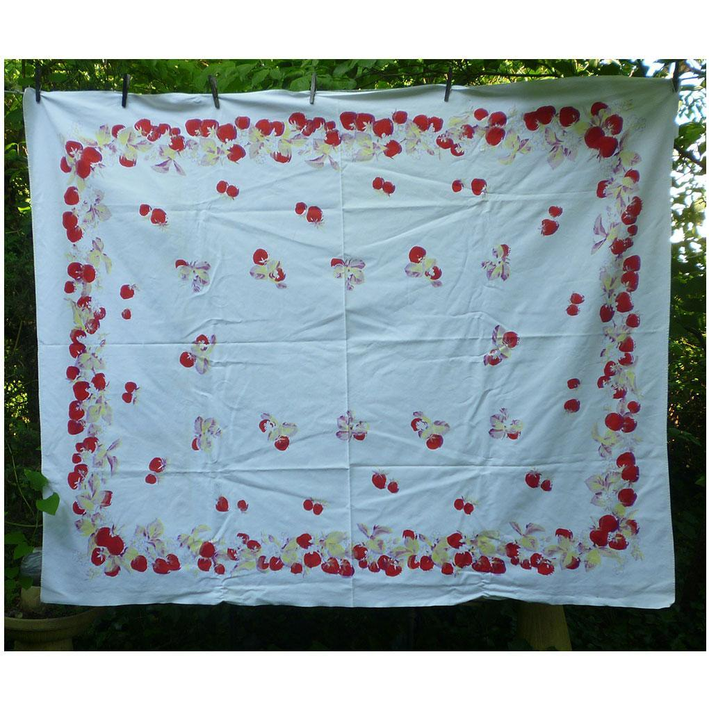 Luscious Ripe Strawberries Vintage Print Tablecloth
