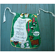 Irish Coffee Recipe Novelty Vintage Linen Apron