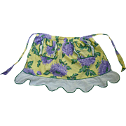 Pretty Floral Purple Green and Yellow Print Vintage Apron