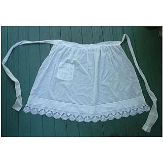 Delicate White Linen Apron With Crochet Trim