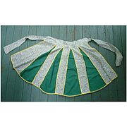 Tiny Floral Print and Green Gores Apron