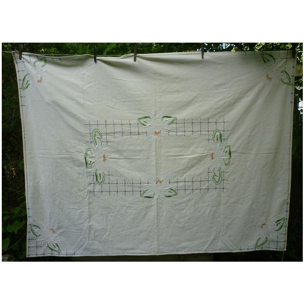Lovely Large Linen White Water Lilies Embroidered Tablecloth