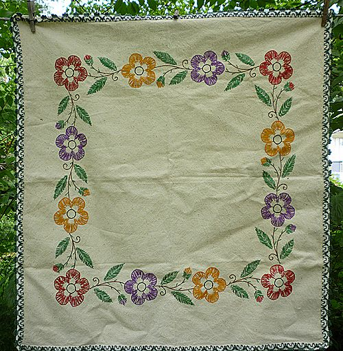 Heavy Linen Floral Embroidered Square Centerpiece or Tablecloth