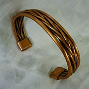 Substantial Copper Braid Open Cuff Bracelet