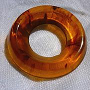 Swirled Rootbeer Circle Bakelite Brooch Pin