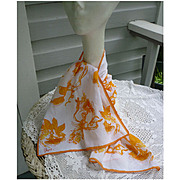 Vintage Vera Yellow Orange Flowers and Tendrils Print Scarf