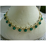 Coro Green Moonglow Moonstones Rhinestones Necklace
