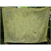 Hardy Craft Vintage Yellow Linen Tablecloth With Fruit Flower Baskets Print