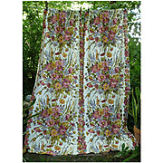 Clusters of Flowers Leaves Vintage Barkcloth Drapes