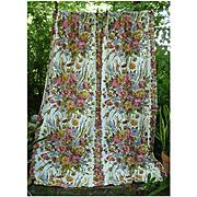 Clusters of Flowers Leaves Vintage Barkcloth Drapes