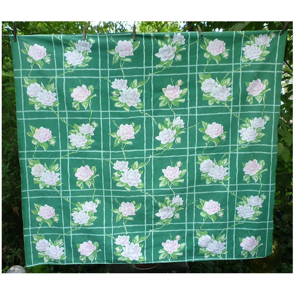 Shell Pink Roses on Green Vintage Print Tablecloth