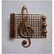 Renoir Copper Treble Clef on Staff Music Brooch