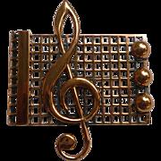 Renoir Copper Treble Clef on Staff Music Brooch