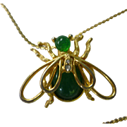 Green and Goldtone June Bug Necklace with Rhinestones