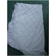 White Puffy Dots and Double Lattice Vintage Chenille Bedspread Cutter