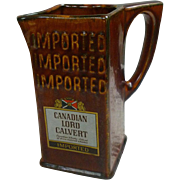 Lord Calvert Canadian Whiskey Bar Pitcher Water Jug