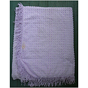 Lovely Lilac Tiny Tufts Vintage Chenille Bedspread for Crafting