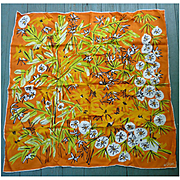Vintage Vera Vivid Orange With Flowers and Leaves Print Scarf