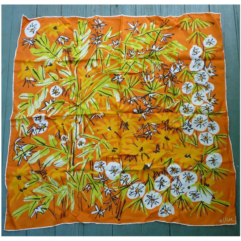 Vintage Vera Vivid Orange With Flowers and Leaves Print Scarf