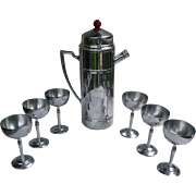 Art Deco Chrome Cocktail Shaker Red Bakelite Knob on Lid With 6 Chrome Stemware Glasses