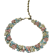 Beautiful Enamel and Rhinestones Vintage Signed Lisner Choker Necklace
