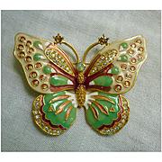 Kenneth Jay Lane Large Enamel and Rhinestones Butterfly Brooch