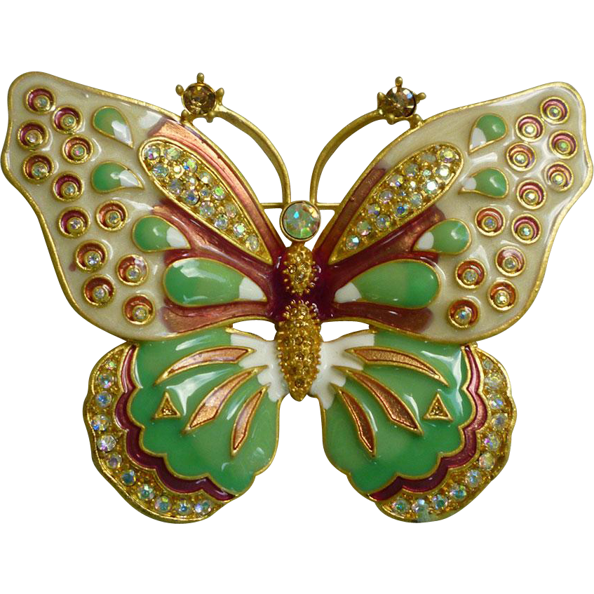 Kenneth Jay Lane Large Enamel And Rhinestones Butterfly Brooch Chez Marianne Ruby Lane
