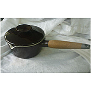 Dark Chocolate Brown and White Enamel Michael Lax Copco Saucepan with Lid 7 Inch