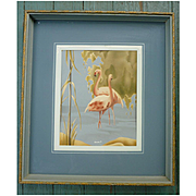 1940s-50s Framed Turner Pink Flamingos Art Print
