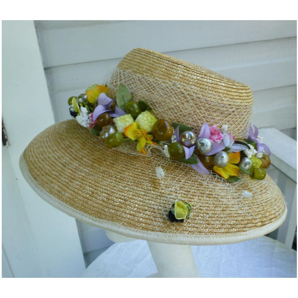 Bee in Your Bonnet Elaborate Flowers and Fruit Trim